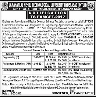 Apply at  eamcet.tsche.ac.in