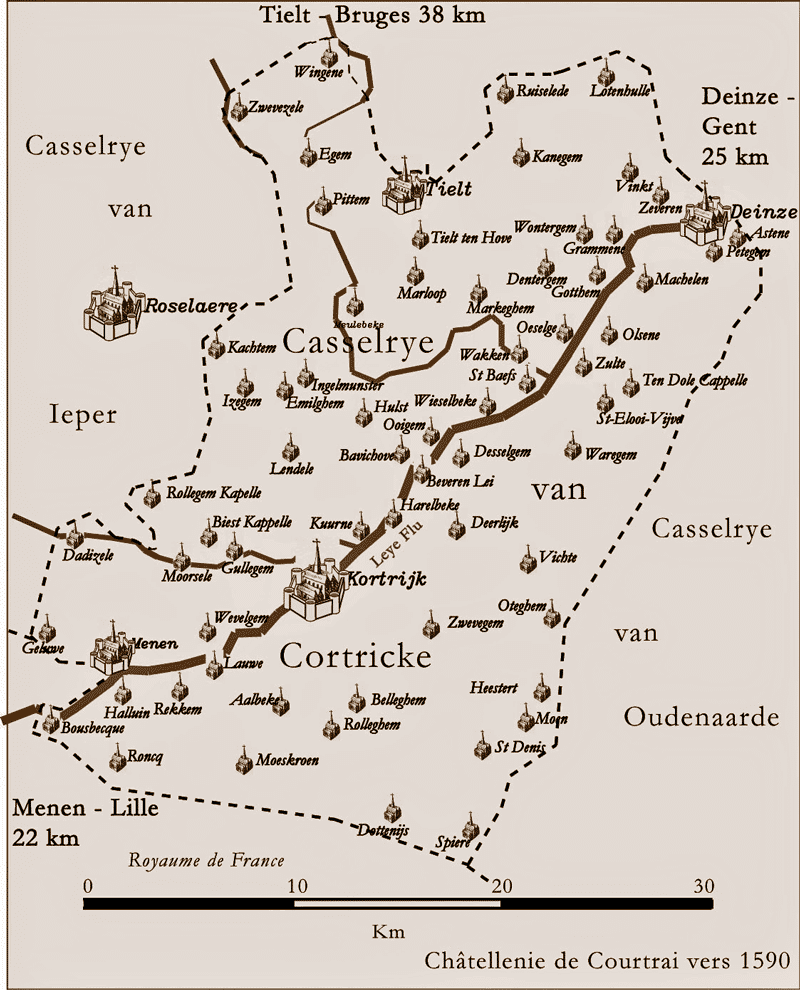 Carte de la châtellenie de Courtrai, ses frontières, ses villages, vers 1590.