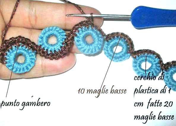 Pulsera crochet con anillas y punto curvado