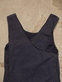 FWK by Engineered Garments Sun Dress in Navy Printed Polka Dot