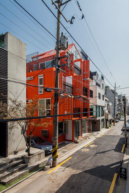 Shipping Container 4 Story House - Office, Cafe and Hotel in Seoul, South Korea 11