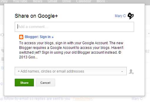 error message saying To access you blogs, sign in with your Google Account.  The new Blogger requires a Google Account to access your blogs.  Haven't switched yet?   Sign in using your old Blogger account instead.