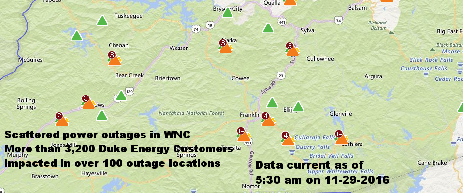 Map showing electgrical outages in the region
