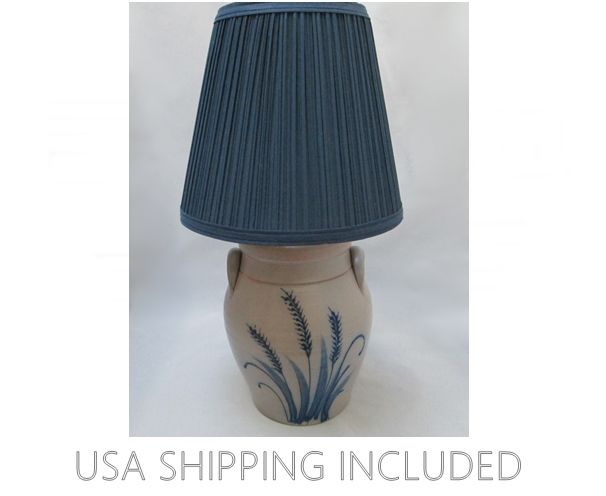 Stoneware Crock Lamp Handmade in Wisconsin 1991 by Rockdale Union