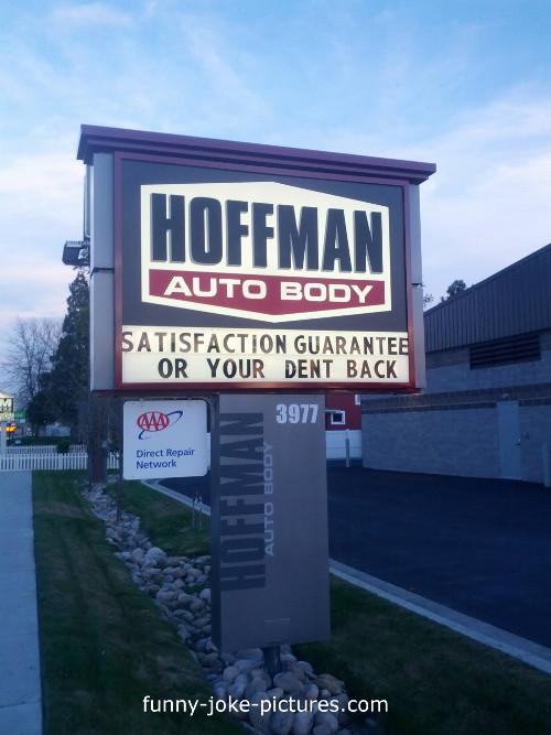 Hilarious Hoffman Auto Car Body Repair Sign