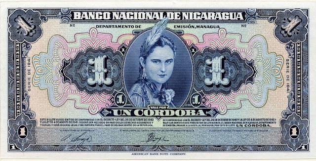 Billete Nicaragua banknotes Cordoba banknote Indian girl