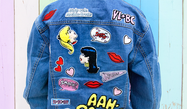 denim jacket, patches, betty and veronica