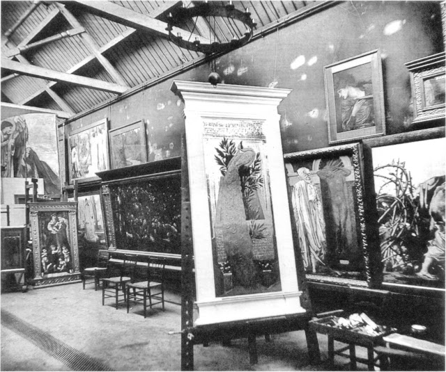 Edward Burne-Jones's garden studio at the Grange, photographed by Frederick Hollyer 1887. Scanned from Wildman, Stephen: Edward Burne-Jones: Victorian Artist-Dreamer, Metropolitan Museum of Art, 1998