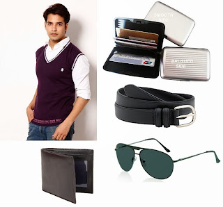 Zion Sleeveless Men's Woolen Blend Sweater for Rs.481 Only + Free Wallet / Belt / card Holder / Aviator Sunglasses at Snapdeal