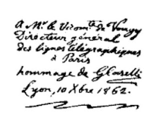 A 'fax' message that was transmitted between Paris and Lyon using Caselli's pantelegraph in 1862