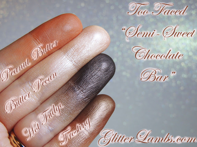 Peanut Butter, Butter Pecan, Hot Fudge, Frosting-Swatches on my fingers
