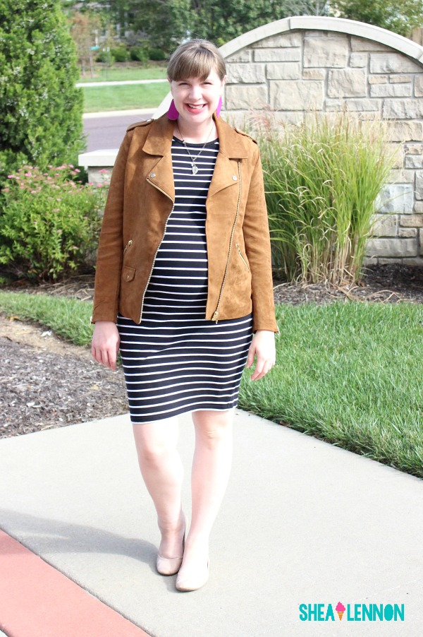 Fall outfit idea - suede moto jacket and striped dress | www.shealennon.com