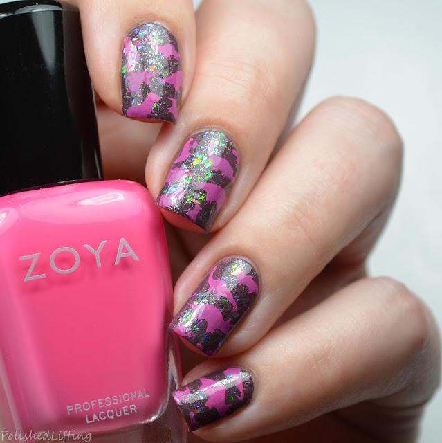 pink dinosaur nail art