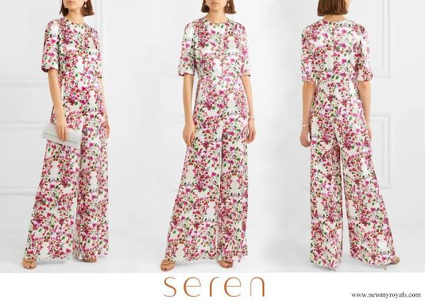Queen Maxima wore Seren Truman floral print silk satin half sleeve wide-leg jumpsuit