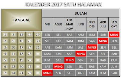 Kalender Mini dan Praktis 2017