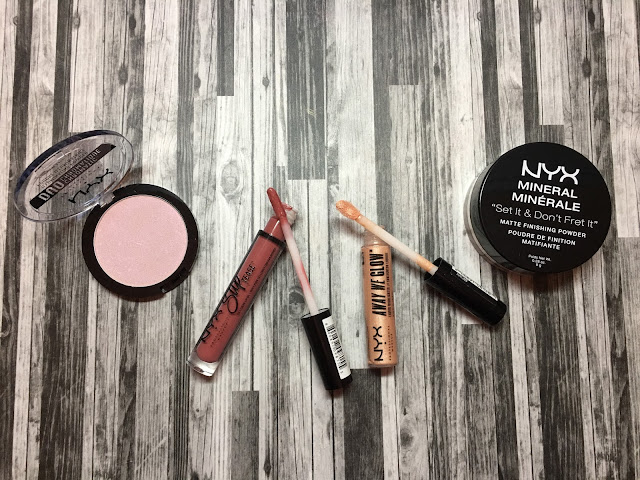 NYX Duochromatic Illuminating Powder, Slip Tease Lip Oil, Away We Glow Highlighter, and Set and Don't Fret It Powder.