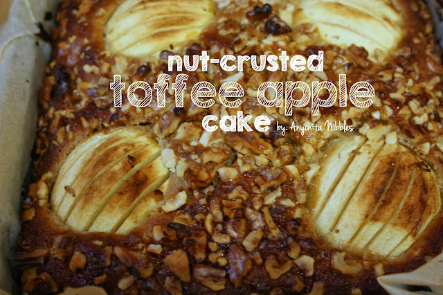 Nut-Crusted Toffee Apple Cake from www.anyonita-nibbles.com with free Thanksgiving printables