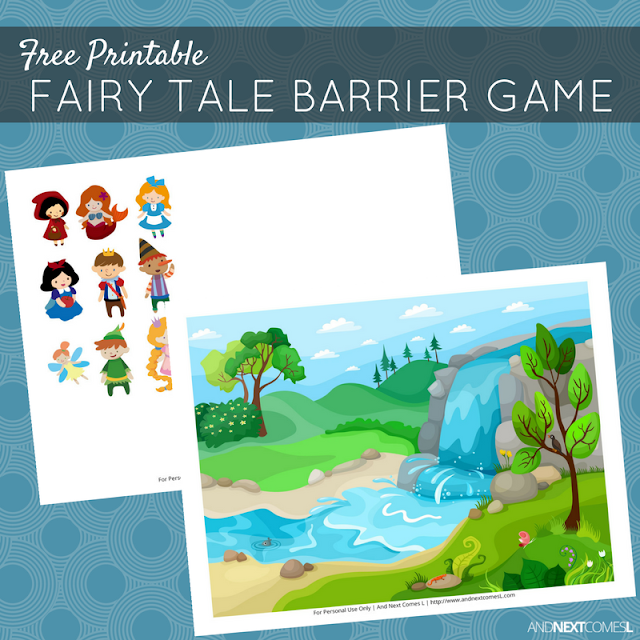 Free printable fairy tale themed barrier game for speech therapy from And Next Comes L