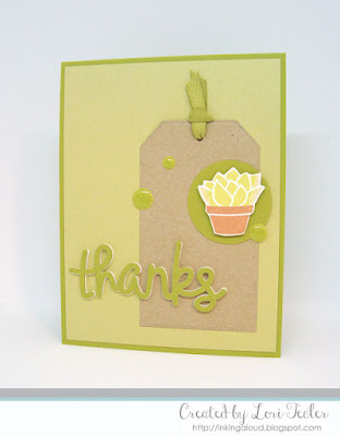 Greenery Thanks card-designed by Lori Tecler/Inking Aloud-stamps from Lawn Fawn