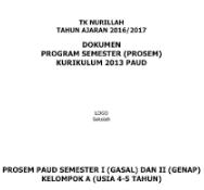Contoh Program Semester 1 dan 2 PAUD Kurikulum 2013 Tahun Ajaran 2016/2017 untuk kelompok A