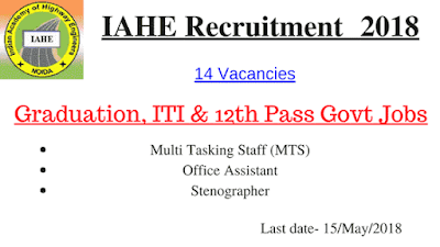 IAHE Recruitment 2018 - 14 MTS Posts of Graduation, ITI, 12th Pass Govt Jobs