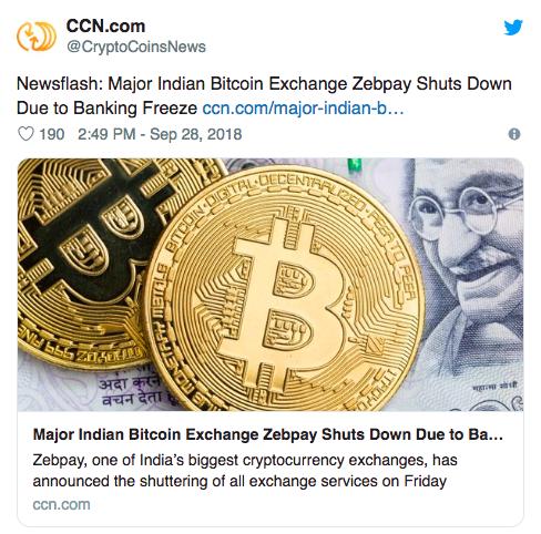 một số công ty tiền điện tử đã phải đóng cửa nó bao gồm Cả sàn giao dịch Zebpay đã ngừng hoạt động tại Ấn Độ vào tháng 9 năm ngoái.