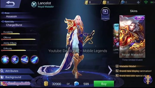 Lancelot New Epic Skin Royal Matador
