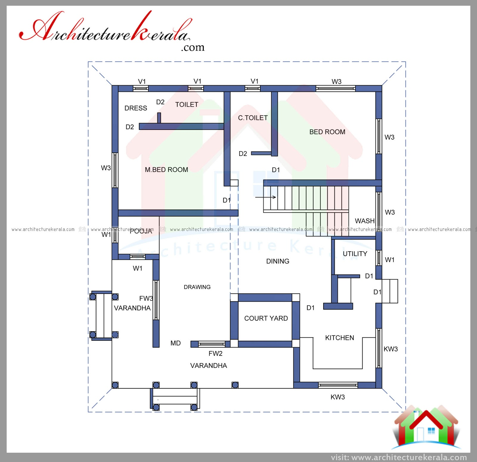 Home Plans With Apartments Attached 2000 Square Feet House Plan And Elevation Architecture