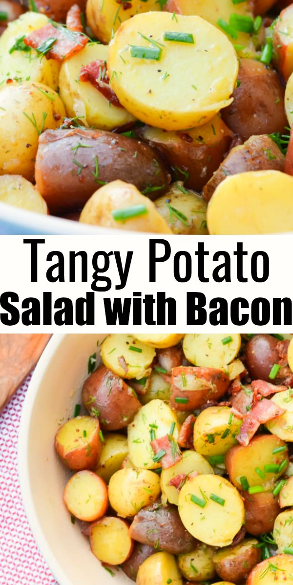 Tangy Warm Potato Salad Recipe with Bacon and fresh herbs is a favorite delicious Potato Salad Recipe. It makes a delicious side dish for barbecues and potlucks from Serena Bakes Simply From Scratch.