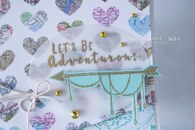 "This fun card features the Happy Adventure Stamp Set, and Sunday Adventure prints from Fun Stampers Journey.  The soft, sweet colors, gold accents, and ""adventure"" sentiment, make this a perfect card for someone with a gypsy soul."