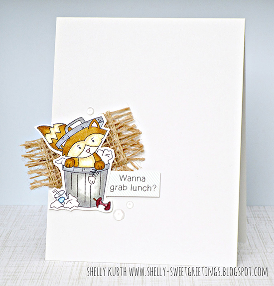 Raccoon and burlap card by Shelly Kurth | Raccoon Rascals stamp set by Newton's Nook Designs #newtonsnook