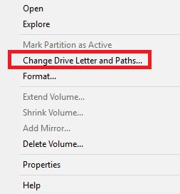 كيفية تغيير حرف أو رمز البارتشن للهارد فى الويندوز