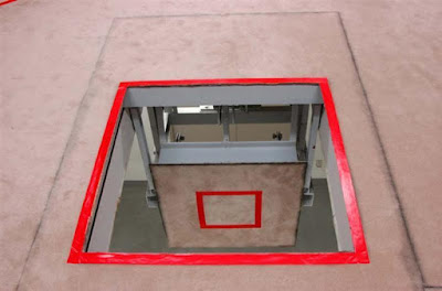 Gallows trap door at an execution chamber at the Tokyo Detention Center in Tokyo