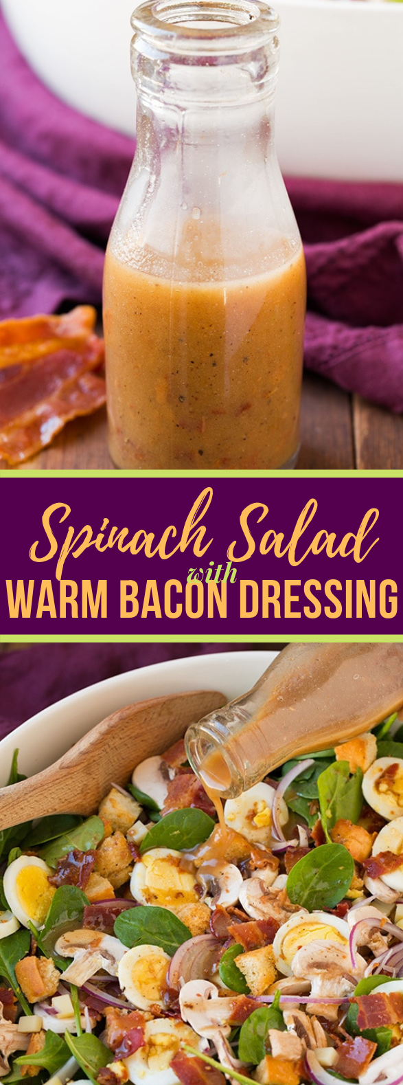 Spinach Salad with Warm Bacon Dressing #vegetarian #saladdressing
