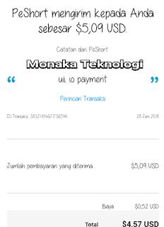 Bukti Payment dari shortlink uii.io