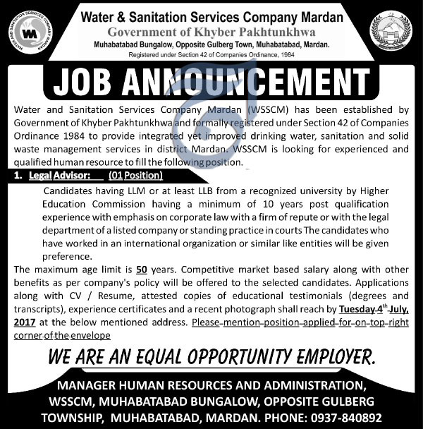 Legal Advisor Jobs in Water and Sanitation Services Company Mardan 11 June 2017