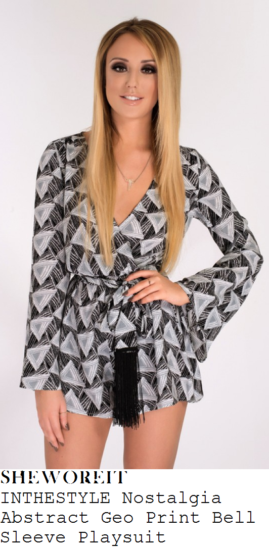 charlotte-crosby-black-white-grey-geometric-triangle-print-long-sleeve-plunge-wrap-front-playsuit-instagram