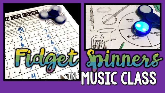 Fidget spinners can be a useful and exciting manipulative for music class.  Your students can use them as regular spinners or as timers to practice their musical knowledge assessment.  Wow your administrator with fidget spinning assessment!  Music teacher WIN!