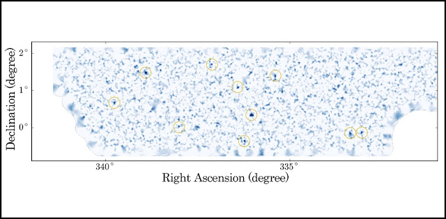 2 dimensional dark matter map estimated by weak lensing technique. The dark matter is concentrated in dense clumps. We can identify massive dark matter halos (indicated by oranges circles). The area shown in this figure is approximately 30 square degrees (a total of 160 square degrees were observed this time). (Credit: NAOJ/University of Tokyo)
