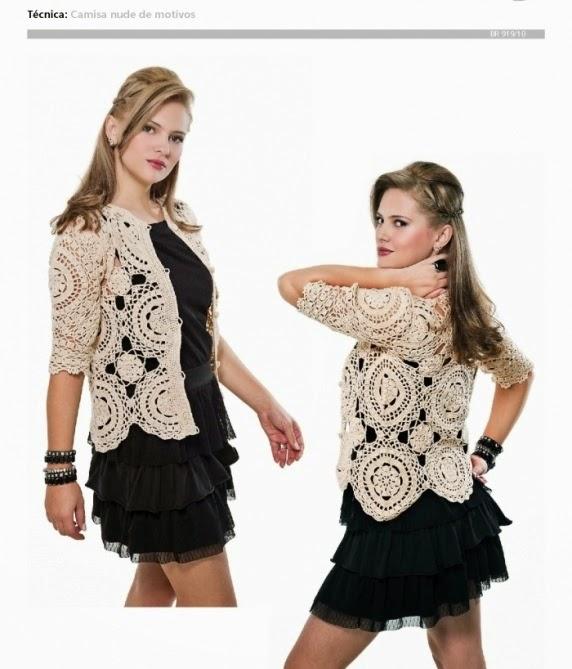 Camisa crochet con base de círculos
