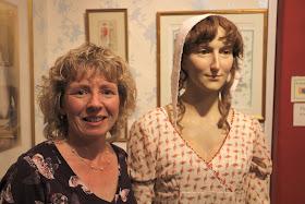 Rachel with the waxwork of Jane Austen  on display at the Jane Austen Centre in Bath