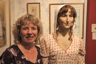 Rachel with the waxwork of Jane Austen  on display at the Jane Austen Centre in Bath