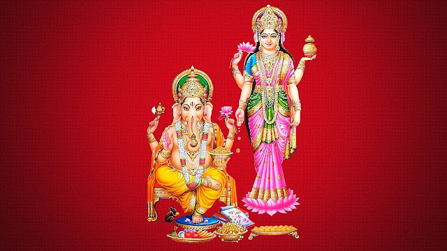 Maa Lakshmi & Ganesha HD Wallpaper In Red Background