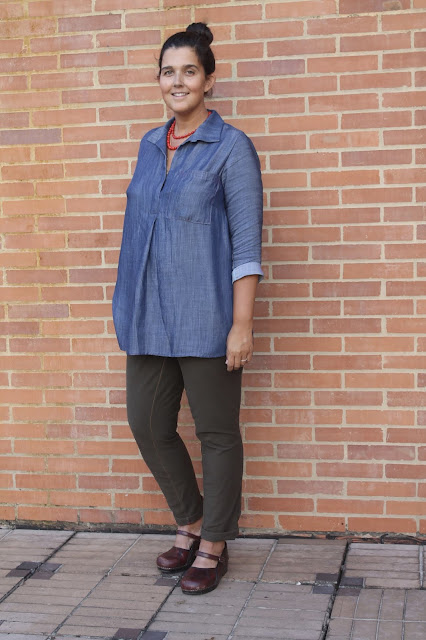 Denim tunic made from the Liesl and Co. Gallery Tunic sewing pattern.