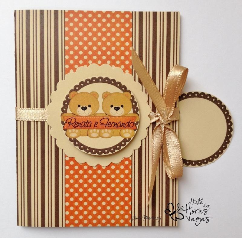 convite artesanal aniversário infantil gêmeos ursinho marrom bege laranja 1 aninho festa