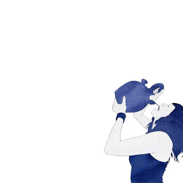 azulejo, cerámica  azul, mujer, beber, botijo