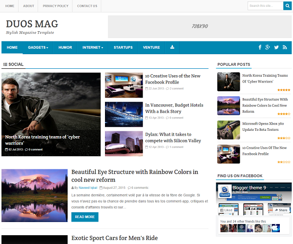 Duos Mag is a premium style magazine blogger template with elegant featured post area.