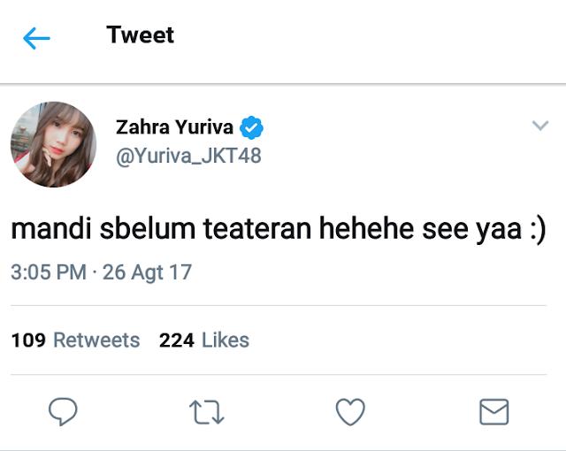 Zahra Yuriva JKT48 Grad Twitter Akun
