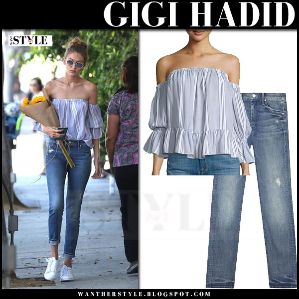 Gigi Hadid in navy striped off shoulder misa birgit top and skinny jeans mother looker what she wore