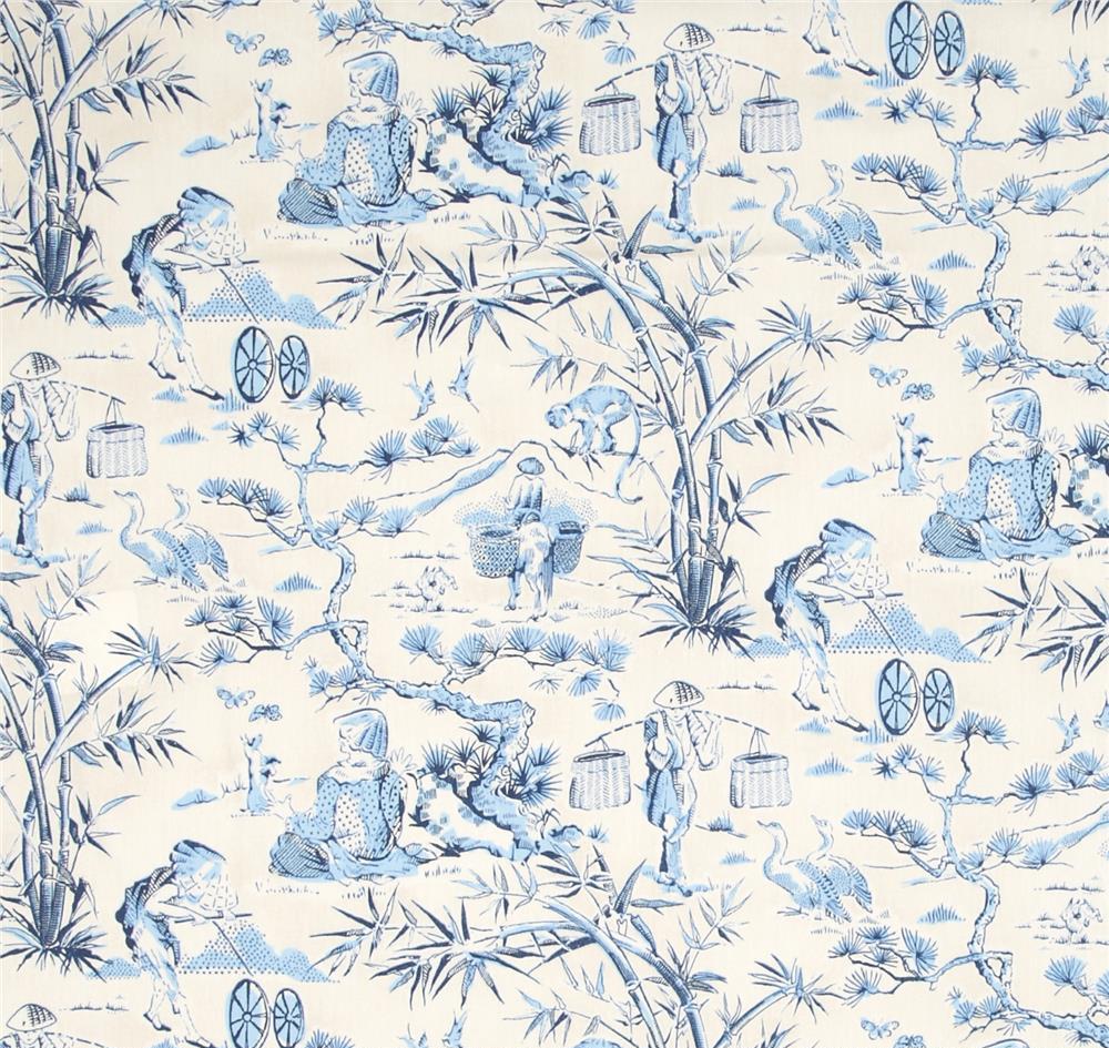 chinoiserie toile fabric score